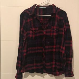 NWOT XXL Maurice's flannel in pink & purple plaid